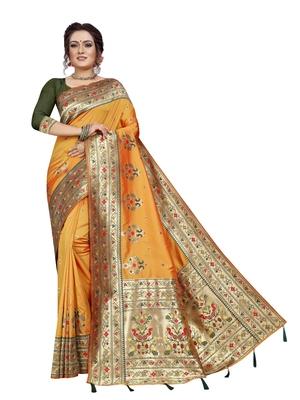 Yellow hand woven banarasi silk saree with blouse