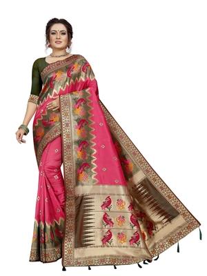 Pink hand woven banarasi silk saree with blouse