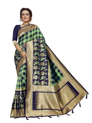 Parrot green hand woven banarasi silk saree with blouse
