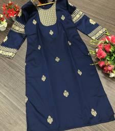 Navy-blue woven silk kurtis