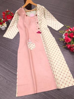 Baby-pink printed cotton kurtis