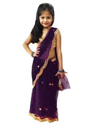 Aglare net border sari,readymade saree.ready to wear.fully stitched.Purple