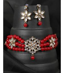 Ethnic Pearl String Red Choker With Designer Earrings