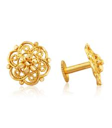 Traditional South Screw Back Alloy Gold and Micron Plated Round Earring