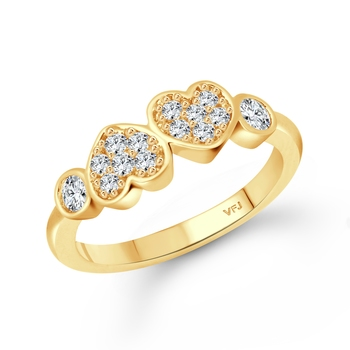 Couple Heart (CZ) Gold Plated  Ring