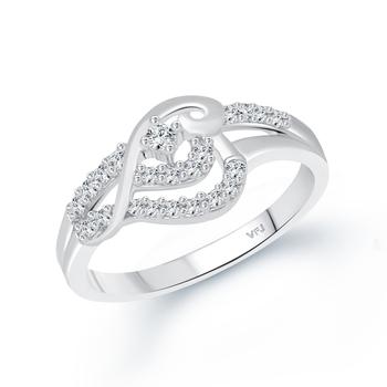 Flower Shine CZ Rhodium Plated Alloy Finger Ring for Women and Girls