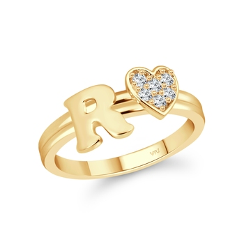 cz alloy Gold plated Valentine collection Initial '' R '' Letter with heart ring alphabet collection for women and Girls