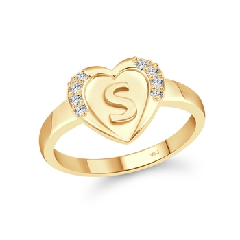 cz alloy Gold plated Valentine collection Initial '' S '' Letter in heart ring alphabet collection for women and Girls