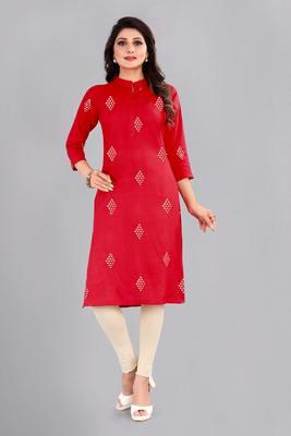 Red woven rayon ethnic-kurtis