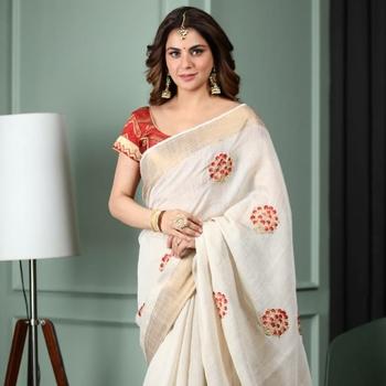 shraddha arya White embroidered cotton silk saree with blouse