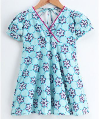 blue cotton printed stitched   dress with   mask