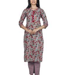 Varyaa women's  Grey nd Pink Jaal Print Coloured Pure Cambric Cotton Printed Jaipuri Kurti Plazzo Set (S to XXL Size)
