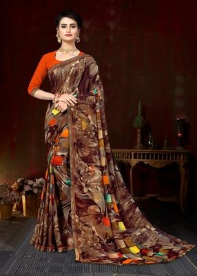 Brown Georgette Printed with lace work Designer Saree
