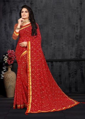 Red Georgette Bandhani Printed Designer Saree