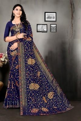 Blue Fancy Brasso Printed Designer Saree