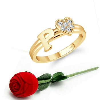 Vighnaharta cz alloy Gold plated Valentine collection Initial '' P '' Letter with heart ring alphabet collection
