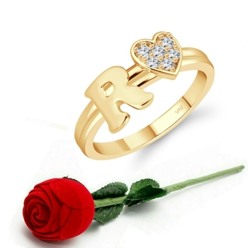 Vighnaharta cz alloy Gold plated Valentine collection Initial '' R '' Letter with heart ring alphabet collection