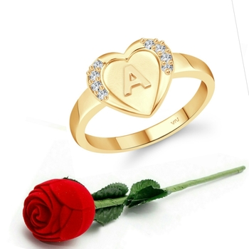 Vighnaharta cz alloy Gold plated Valentine collection Initial '' A '' Letter in heart ring alphabet collection