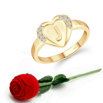 Vighnaharta cz alloy Gold plated Valentine collection Initial '' J '' Letter in heart ring alphabet collection
