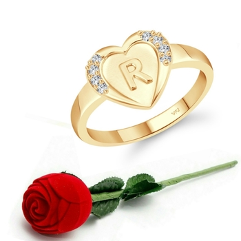 Vighnaharta cz alloy Gold plated Valentine collection Initial '' R '' Letter in heart ring alphabet collection