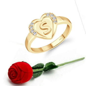 Vighnaharta cz alloy Gold plated Valentine collection Initial '' S '' Letter in heart ring alphabet collection