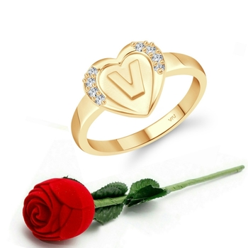Vighnaharta cz alloy Gold plated Valentine collection Initial '' V '' Letter in heart ring alphabet collection