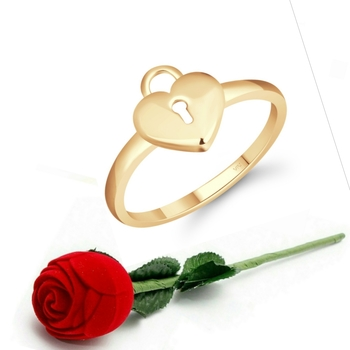 Vighnaharta Stylish Lock Heart Ring CZ Gold Plated Alloy Ring  with Scented Velvet Rose Ring