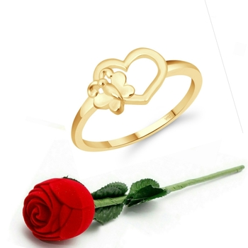 Vighnaharta Cute Butterfly Heart CZ Gold Plated Ring   with Scented Velvet Rose Ring