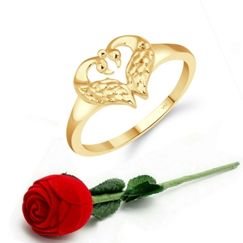 Vighnaharta Cute Mayur Heart CZ Gold Plated Ring   with Scented Velvet Rose Ring