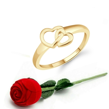 Vighnaharta Cute Double Heart CZ Gold Plated Ring   with Scented Velvet Rose Ring