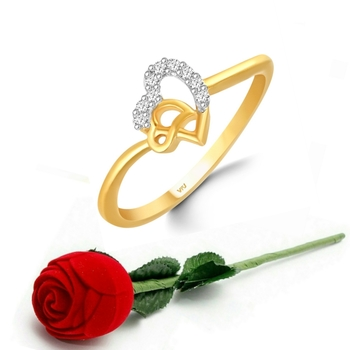 Vighnaharta Diamond studded Cute  Heart CZ Gold Plated Ring   with Scented Velvet Rose Ring