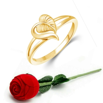 Vighnaharta Cute Leafy  Heart CZ Gold Plated Ring   with Scented Velvet Rose Ring