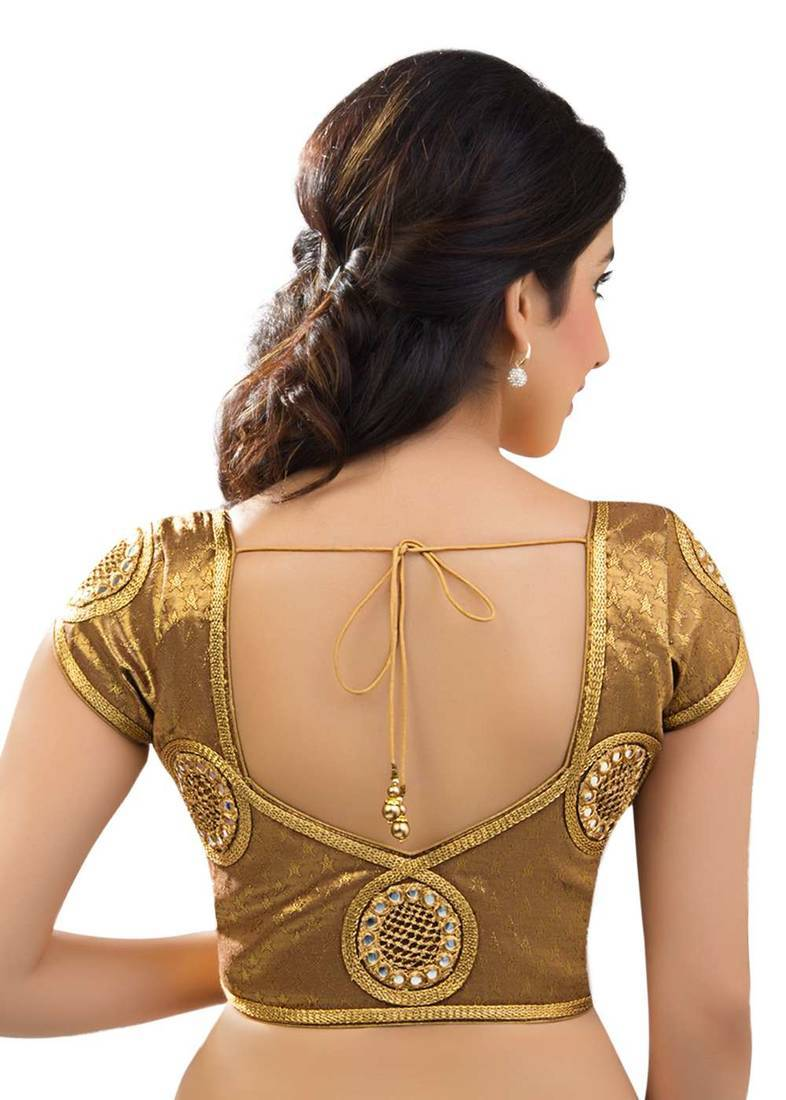 Buy Gold Brocade Readymade Blouse Online