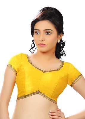 yellow dupion silk readymade-blouse