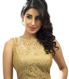 Buy gold net readymade sleeveless blouse wedding-season-sale online