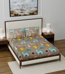 """Supersoft Fitted Elastic Double Bed Kids Bedsheet Dino Print With 2 Pillow Cover (Color-Brown : Size-72"""" X 78"""")"""