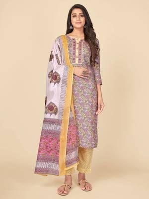 Pink Cotton Printed stitched   Kurta    Pant with dupatta