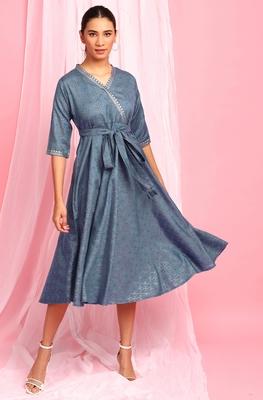 Blue printed cotton long-dresses