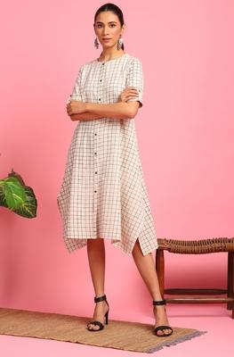 Cream woven cotton long-dresses