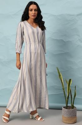 White woven viscose rayon maxi-dresses