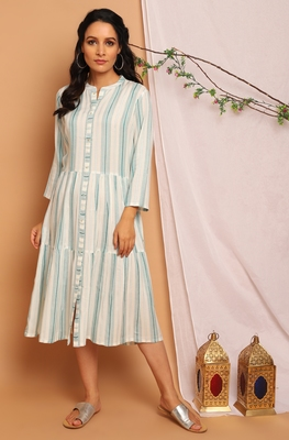 Off-white woven viscose rayon long-dresses