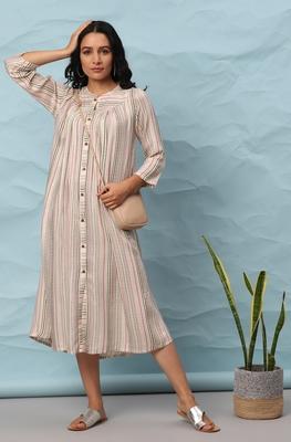 Multicolor woven viscose rayon long-dresses