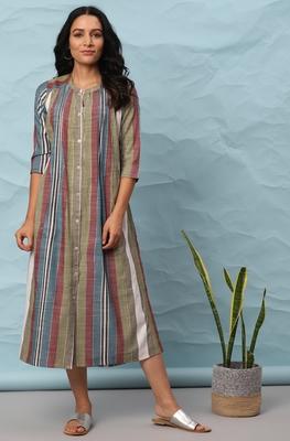 Multicolor woven cotton long-dresses