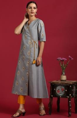 Grey printed polyester kurtas-and-kurtis