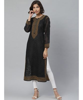 Women's Hand Embroidered Black Cotton Lucknow Chikankari Kurti