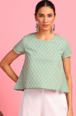 Green embroidered cotton party-tops