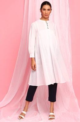 White plain cotton tunics