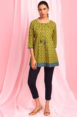 Green printed cotton tunics