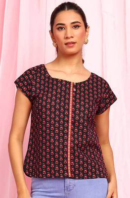 Black printed cotton party-tops