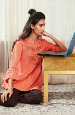 Peach embroidered cotton party-tops
